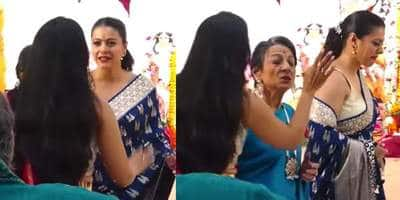 Kajol tells Tanishaa 'just shut up' in a video from Durga Puja celebrations, mom Tanuja intervenes and make them pose for the paps